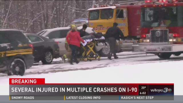 Several injured in multiple crashes on I-90