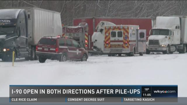 17 hospitalized after multiple accidents on I-90