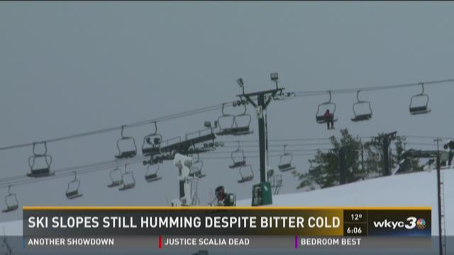 Ski slopes still humming despite bitter cold
