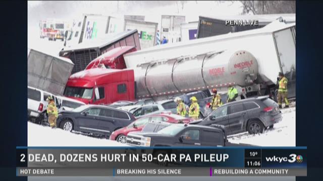 2 dead, dozens hurt in 50- car Pennsylvania pileup