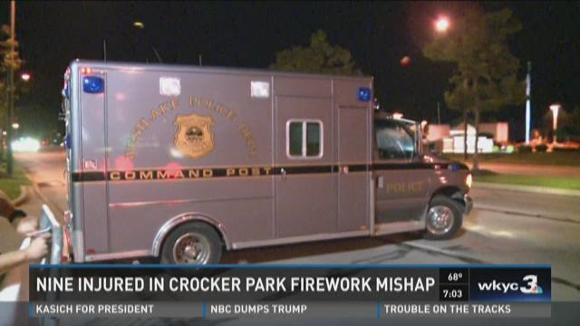 Nine injured in Crocker Park firework mishap