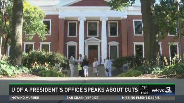 University of Akron president 's office speaks about cuts