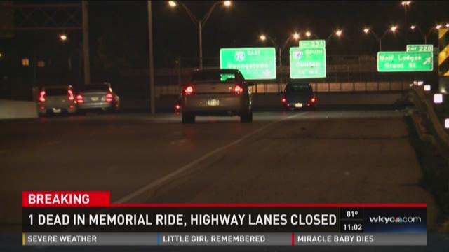 1 dead in memorial ride, highway lanes closed