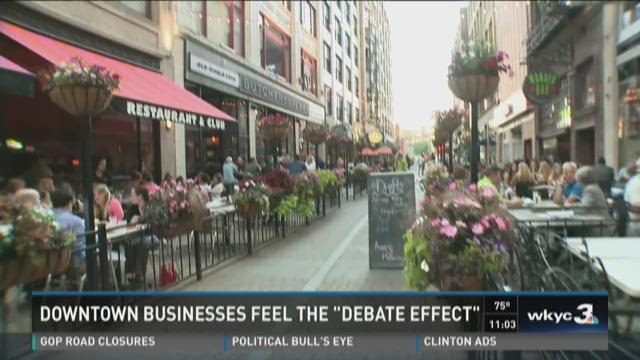 """Downtown businesses feel the """"debate effect"""""""