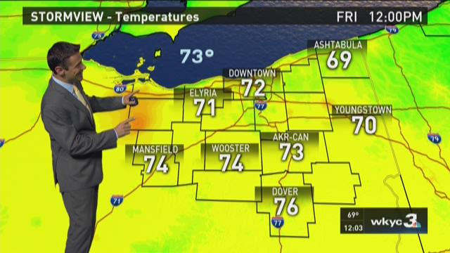 Noon weather forecast for Aug. 28, 2015