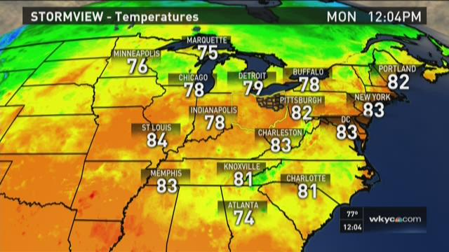 Noon weather forecast for Aug. 31, 2015