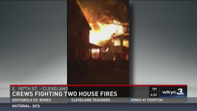 Crews battle house fire on Cleveland's east side