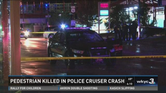 Pedestrian killed in police cruiser crash