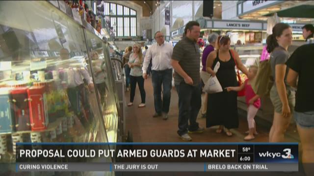 Armed guards at West Side Market